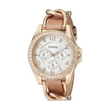 Fossil Original ES3466 Women's Riley Rose Gold Leather Watch 37 mm