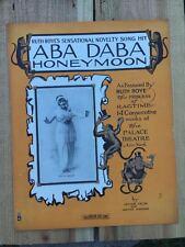 ABA DABA HONEYMOON sheet music 1914 Original RUTH ROYE Ragtime MONKEY Fields