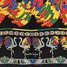Auth Vintage Must De Cartier Logos Scarf BLACK FLAMINGO 100% Silk Made in France