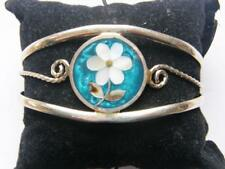 MEXICAN ALPACA SILVER + ABELONE MOTHER OF PEARL SHELL CUFF BANGLE