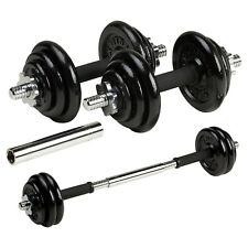 DTX Fitness 20kg Black Cast Iron Dumbbells Barbell Body Building Weights Set