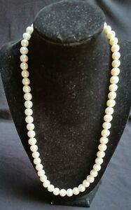 """White Cultured Pearl necklace 22"""" 9-10 mm Pearls with 14K  YG. Clasp"""