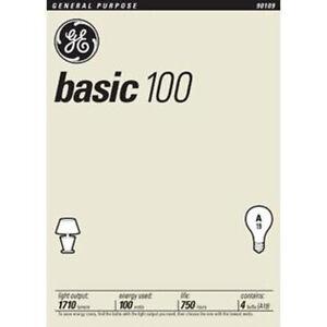 NEW GE 41034 100 Watt 1710-Lumen A19 Light Bulb 4 Bulbs Per Pack