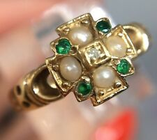 Antique Emerald Diamond  And Pearl Yellow Gold Cluster Unusual  Ring Large
