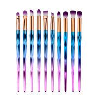 10Pcs Eyes Brushes Set Makeup Blend Shadow Angled Eyeliner Smoked Cosmetic Brush