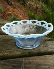 Glass Art Bowl Frosted Opalescent Lattice Weaved Decorative Artisan Crafted