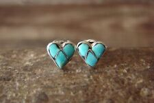 Zuni Indian Jewelry Sterling Silver Inlay Turquoise Heart Post Earrings