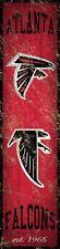 "Atlanta Falcons Heritage Banner Retro Logo Wood Sign New 6"" x 24"" Wall Est 1966"