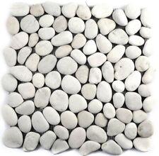 Natursteinmosaik Flußkiesel weiß cream Boden Wand Fliesenspiegel 1Matte 30-0102