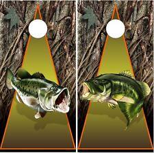 Bass Fishing Camo Cornhole Wrap Bag Toss Skin Decal Sticker Wraps