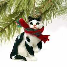 Tabby Cat Tiny One Christmas Ornament Black-White Shorthaired by Conversation C