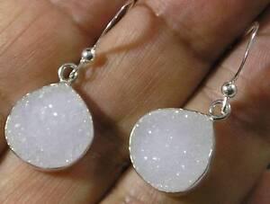 """Teardrop White Quartz Druzy .925 Sterling Silver Dangle Hook Earrings 1 1/4"""" USA"""