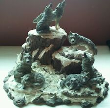 Resin Set Gray Wolves Figurines On Mountain Removable Pieces Nice Detail!