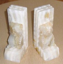 Vintage SET OF WHITE ONYX AZTEC GOD BOOKENDS VERY HEAVY 4PC'S