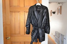 WILSONS LEATHER WOMAN'S BLACK LEATHER BELTED COAT