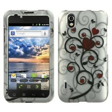 For LG Marquee HARD Protector Case Snap on Phone Cover Silver Heart Tree