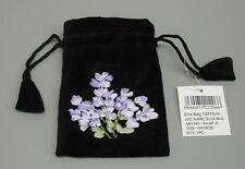 New Black Velvet Lavender Ribbon Embroidery Drawstring Bag Pouch Cotton  New B50