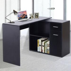 L-Shaped Corner Computer Desk, Home Office Laptop Table w/Storage Drawer Shelves