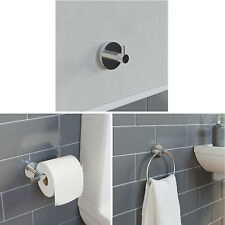 Bathroom Set Robe Hook Towel Ring Toilet Roll Holder Chrome Round Wall Mounted