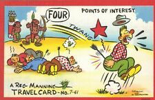 "SIGNED Reg Manning Postcard,""Points of Interest"",TravelCard #7-41,Linen,c.1940s"