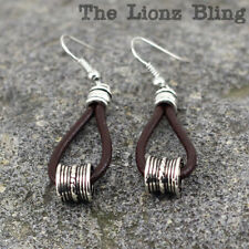 Urban Vintage style Brown Leather Teardrop Hoops with Antiqued Silver Pendant