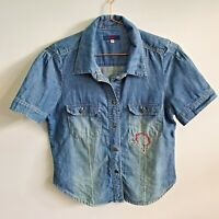 Vtg Kenzo Jeans Denim Button Up Shirt 42 S-M Embroidered Mid Wash 80s 90s Womens