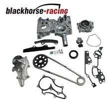 Timing Chain Kit(Steel Guides)+Cover+Oil&Water Pump For Toyota 2.4L 22R/RE 85-95