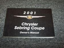 2001 Chrysler Sebring Coupe Owner Owner's Operator Manual LX LXi 2.4L 3.0L