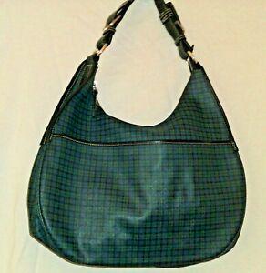 Ralph Lauren Green Black Tartan Plaid Hobo Circle Bag