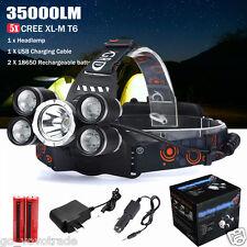 35000LM 5x XM-L T6 LED Headlamp Headlight Flashlight Head Lamp 18650 Charger Set