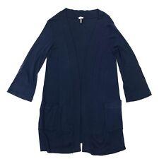 Splendid Navy Blue Open Front Roll Tab Sleeve Lightweight Cardigan Sweater Sz L