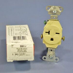 P&S Ivory COMMERCIAL Single Outlet Receptacle NEMA 6-20R 20A 250V Boxed 5851-I