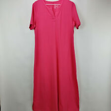 Denim & Co. Essentials Split V-Neck Knit Maxi Dress Warm Rose Petite M   A304432