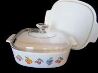 Corning Ware Fruit Basket 2 Quart A-2-B w/ Pyrex Lid & Plastic Lid
