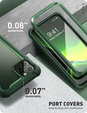 iPhone 11 Pro 5.8 Case Rugged Clear Bumper Built in Screen Protector Green