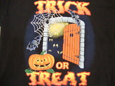 """Trick Or Treat!""Cute Cartoon Haunted House Halloween Black T Shirt Men's Size L"