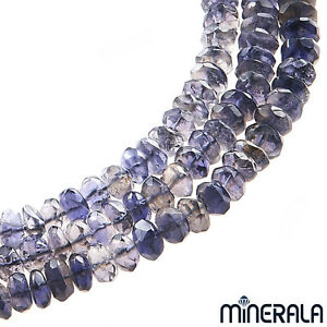 """NATURAL IOLITE GEMSTONE FACETED RONDELLE 6mm BEADS 14"""" STRAND"""