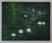 Original Water Lilies FRAMED Painting Homage To MONET Impressionism Signed art