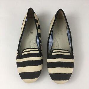 Charles Philip Shanghai Sz 6 Shoes Black Cream Stripe Satin Loafer Smoking Flats