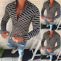 Men's Long Sleeve Muscle Tees Slim Fit Striped T-shirt Casual Tee Tops Blouse XL
