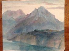 Acquarello colori fine '800 primi '900 montagne  sul lago ALPI APPENNINI costa