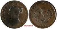 Canada NOVA SCOTIA Victoria 1840 1/2 Penny Halfpenny Token KM# 3 (18 217)