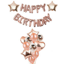 Rose Gold Happy Birthday Party Decorations, Rose Gold Confetti Balloons Backdrop