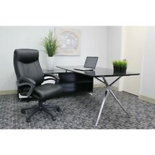 Boss Ultra Soft Black Leather Plus Double Layer Wheel Casters Executive Chair