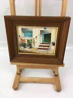 Original Oil Painting On Board Signed Ramos Framed White Doorway Steps Flowers