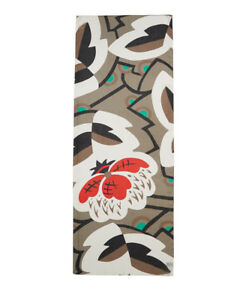 Jigsaw Peony Print Silk Long Scarf RRP£69 Khaki - PRETTY! Second