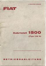 FIAT 1500 Kabriolett 118 Betriebsanleitung 1963 Bedienungsanleitung Cabriolet BA