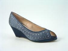 Señoras AZUL MARINO Satinado Diamante Boda Traje de Novia Graduación De Cuña Punta Abierta Zapatos Tallas