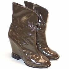 "Chloe Brown Patent Leather Wedge High 5"" Heel Ankle Boots Booties size 40 10 9.5"
