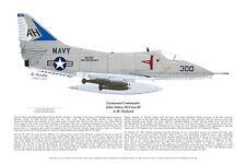4 Navy Jets, A-4, A-7 Corsair, F-14 & F-18 Blue Angel, Aviation Art, E Boyette